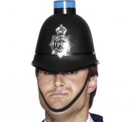 Casco de Policía Bobby inglés con Sirena luminosa e Insignia