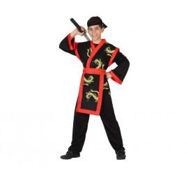 Disfraz de Samurai Dragón rojo y negro para niño en varias tallas