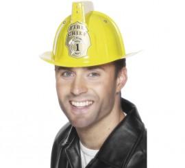 Casco Amarillo de Bombero con Luz de PVC