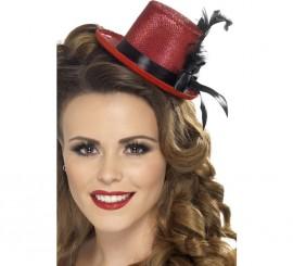 Mini Sombrero Chistera Burlesque Rojo con Pluma para Mujer