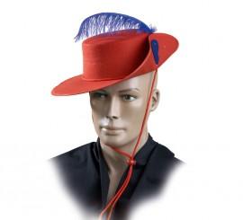 Sombrero Mosquetero Rojo de fieltro con pluma para adultos