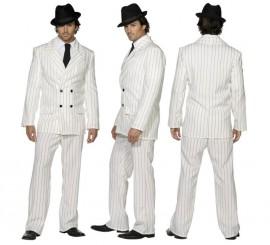 Disfraz de Gánster Blanco rayas Negras para Hombre