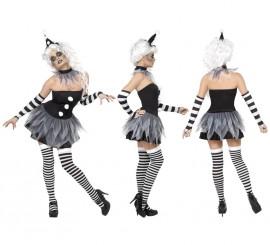 Disfraz de Pierrot Siniestro para Mujer