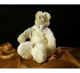 Osito sentado blanco decoración navidad 24 cm