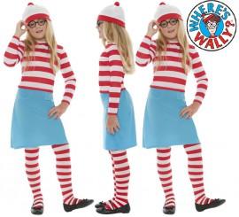 Disfraz de Dónde está Wally: Wenda para Niña en varias tallas