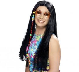 Peluca Hippy Party Negra con Cuentas de Colores para Mujer