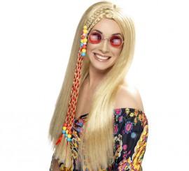 Peluca Hippy Party Rubia con Cuentas de Colores para Mujer