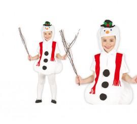 Disfraz de Muñeco de Nieve para niños en varias tallas