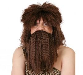 Peluca y barba de Náufrago castaña