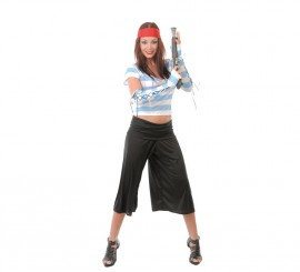 Disfraz de Pirata mujer rayas azules para Carnaval