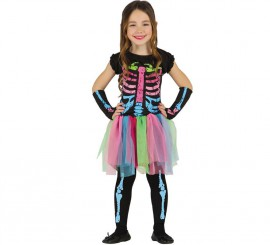 Disfraz de Esqueleto Tutú multicolor para niña en varias tallas