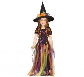 Disfraz de Brujita lunares largo para niñas en varias tallas