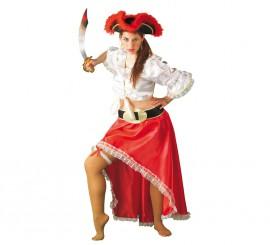 Disfraz de Pirata roja sexy para mujer