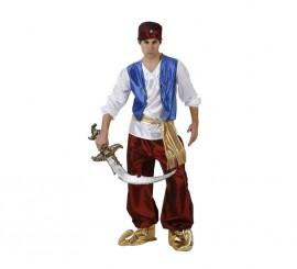 Disfraz de Príncipe Árabe granate para hombre en varias tallas