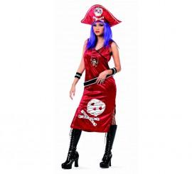 Disfraz de Pirata Johanna Roja Deluxe para mujer