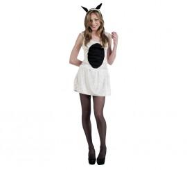 Disfraz de Ovejita blanca y negra Deluxe para mujer
