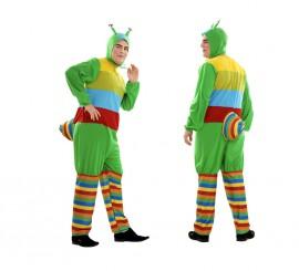 Disfraz de Gusano multicolor para hombre talla XL