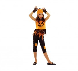Disfraz de Calabaza Punky para niñas de 5 a 6 años