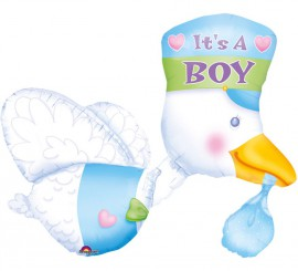 Globo Cigüeña con Bebé niño de 58x81 cm