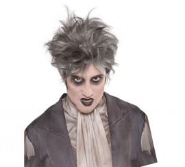 Peluca gótica color gris de vampiro o fantasma