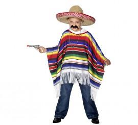 Poncho Mexicano multicolor infantil