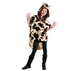 Poncho Vaca con capucha para niños